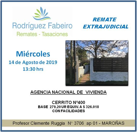 14-08-2019, Remate Extrajudicial MAROÑAS